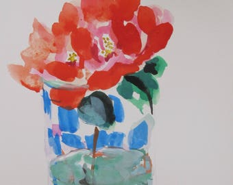 red rose painting , watercolor , gouache , watercolor , glass vase, happy art, housewarming , small painting , mat and backing , 4 x 6 inch