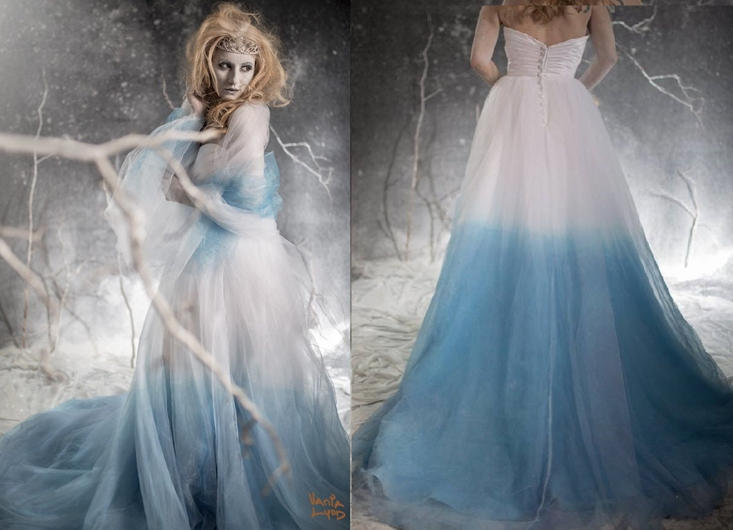 Frozen Ombre Blue Wedding Dress with Crystal Detail - Couture Wedding Gown - Colored Wedding Dress Pink, Blue, Green, Yellow, Orange, Purple