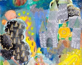 Art mural Cendrillon Chambre des filles, crèche de l'Art, Fantasy Art, Mixed Media impression, salle de jeux jaune Art, impressions jet d'encre jaune, pépinière Art abstrait
