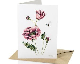 "A6 Greeting Card Poppy Flowers ""Poppy Love"""