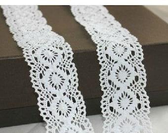 White Cotton lace 45mm - Lace Ribbon - Lace Trim - Vintage Lace - Crochet Lace - Wide Lace for Sewing - Pure Cotton Lace