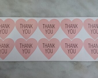 50 Thank You Stickers (heart shape), Gift Labels, Thank You Labels, Packaging Labels, Party Deco, Card Making, Scrapbooking