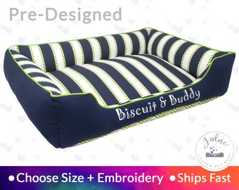 Stripe Dog Bed with Personalization - Navy Blue, Chartreuse Green, Stripes, Chevron | Washable, Reversible and High Quality - Ships Fast!