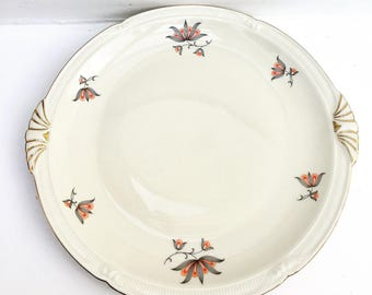 Antique Dish 1930 German Porcelain Dish Zeh Scherzer and Co in 1930, Serving Dish Flat Pastries Serving Plate Collector Antique German 1930s