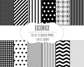 Black Licorice Digital Scrapbook Paper 12x12 Pack - Set of 12 - Polka Dots, Chevron, Gingham - Instant Download - Item# 8007