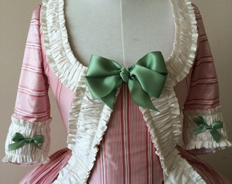 READY TO SHIP Pink Stripe 18th Century Rococo Polonaise Size 8
