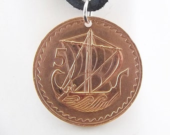Boat Coin Necklace, Cyprus 5 Mils, Coin Pendant, Leather Cord, Mens Necklace, Womens Necklace, Coin Jewelry, Birth Year 1973