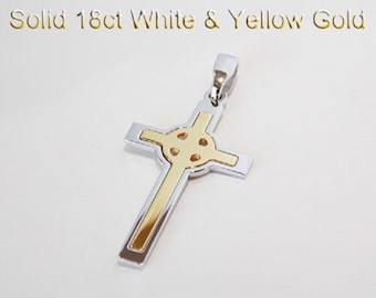 18ct 750 Two Tone Yellow and White Gold Crucifix Cross Pendant NEW