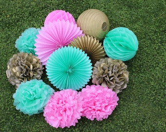12pcs Pink Mint Green Gold Hanging Paper Fans Tissue Paper Pom Poms Flower and Honeycomb Balls for Birthday Party Wedding Festival Decor