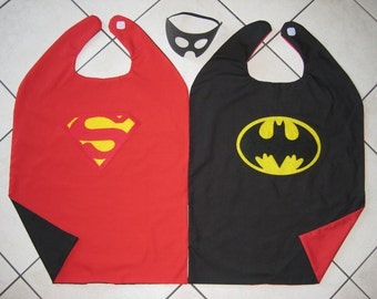 Reversible Superman Batman Superhero Cape Boys Costume Hero Mask RED