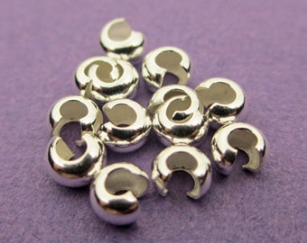 New 3mm 925 Sterling Silver Crimp Covers 25pcs