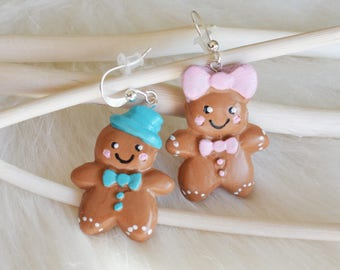 Gingerbread boy and girl earrings - fimo earrings - polymer clay earrings - fimo gingerbread - clay gingerbread