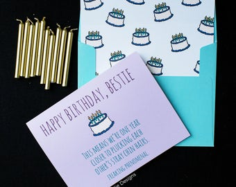 Happy Birthday Bestie Greeting Card | Funny Birthday Card for Best Friend | Plucking Chin Hairs Card | Silly Birthday | Bday Card for Sister