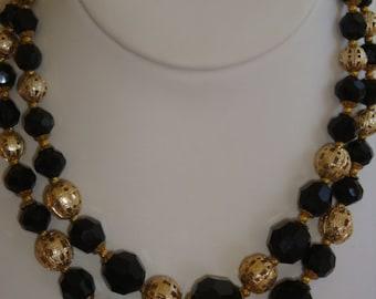 Vintage Faceted Black Glass Multi-Strand Necklace
