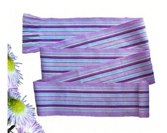 Lavender Blue Sash, SA72 - Bohemian Belt - Guatemalan Textiles - Fabric Sash Belt - Gypsy Clothing - Ethnic Belt - Purple Sash Belt