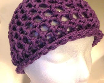 Purple Crochet Winter Hat Somewhat Beret Style Larger Holes Not as Warm Can be worn in warmer weather for Style