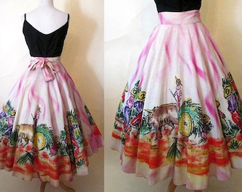 Awesome 1950's Hand Painted Mexican Circle Skirt Vintage Western Mexicana VLV Rockabily Pinup Girl Size Small/Medium