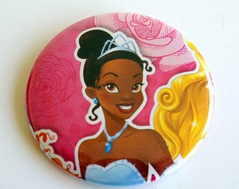 10 Upcycled Disney Princess Button - Princess Party Favor - Princess Birthday Party - Princess Tiana Favors - Princess Tiana Party Favors