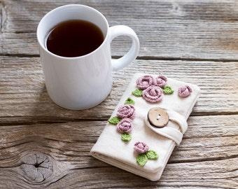 Rose Tea Bag Organizer, Floral Tea Holder with Crochet Pink Roses, Natural Cotton Gift for Tea Lover