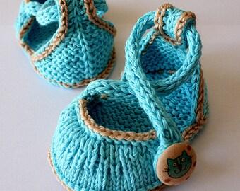 Knitting Pattern (PDF file)  Kitten Baby Shoes (sizes 0-6/6-12 months)
