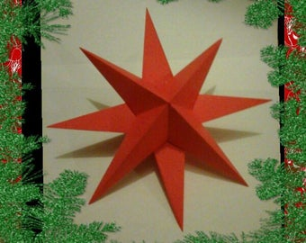 Christmas set of 5 red 3D origami stars