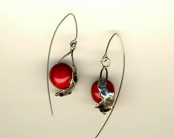 925 sterling silver earrings with red corals
