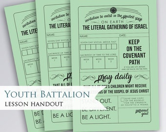 Enlist in the Lords Youth Battalion Handout | reminder | Printable | digital download | LDS Youth | President Nelson | Gathering of Israel
