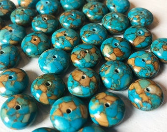 12 x 5mm Smooth Mosaic Turquoise Rondelle Beads