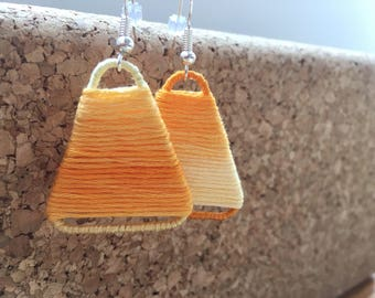 Triangle Ombre String Earrings - yellow