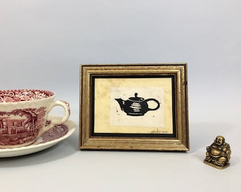 Linocut print of a teapot on tea-stained paper. Small framed art, sealed with acrylic. Niche decor. Valentines Day gift for tea lover.