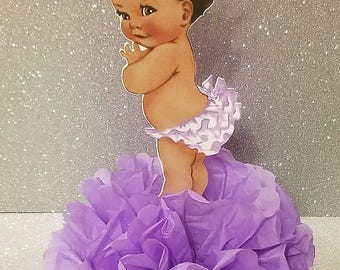 Royal Little Princess Lavender and Silver or gold Baby shower or 1st birthday centerpiece Table Decor African American Ethnic baby