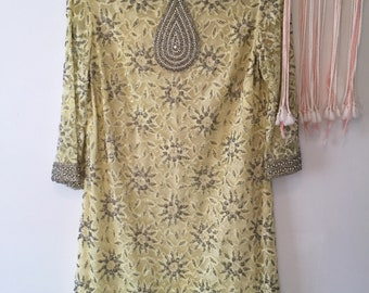 VINTAGE 1960's Exquisite Pale Yellow BEADED A-Line Shift DRESS **Near Mint**