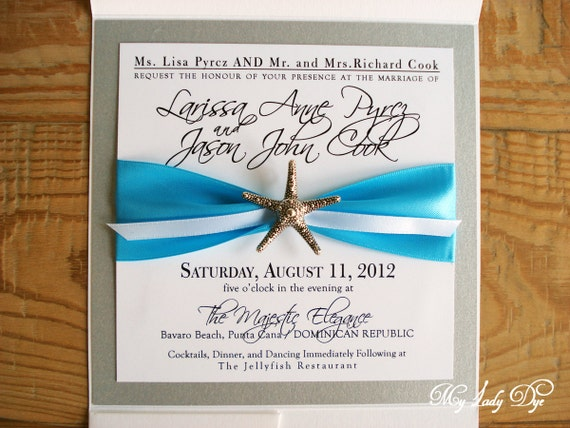 100 Starfish Wedding Invitations