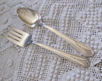 Ivanhoe Vintage Silver Plate Large Serving Spoon Fork Set - Ivanhoe 1931 Pattern (16A)