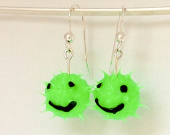 Neon green smiley face earrings, spiky rubber earrings, spiky ball earrings, silicone ball earrings, sterling silver, fluorescent green