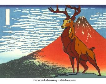Bambi in Japan TAKUMA YOSHIDA Mount Fuji Disney giclee print on archival paper