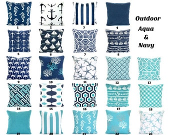 OUTDOOR Pillow Covers, Navy Aqua Nautical Beach Decor, Nautical Cushions  Ocean Blue Oxford Navy White Patio Sun Room All Sizes Mix U0026 Match