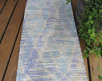 Blue, Gray, Light Yellow, Green Loomed Rag Rug CP131