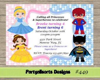 DIY - Princess and Superhero Party Invitations