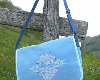 Shoulder bag handbag pattern LYDIE light blue velvet