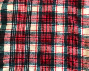"""TARTAN WOOL Blanket Red Green Off-White Brown Satin Border 145 x 59"""" Vintage Stadium Picnic"""