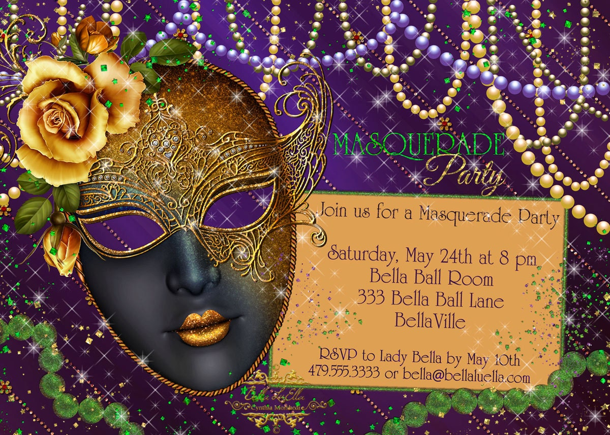mardi gras party invitations & mardi gras party invitations - Black.dgfitness.co