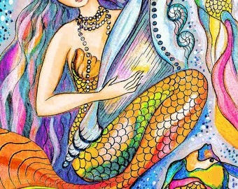 mermaid decor, Indian decor, woman decor, indian mermaid painting, fish woman, girls room decor, goddess painting, sea goddess, 8x10+