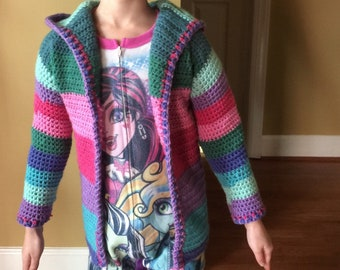 Personalized crochet Color blocked cardigan