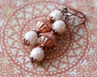 Rustic Earrings, Boho Copper Earrings, Earthy Bohemian Jewelry, Stacked Earrings, White Earrings, Czech Glass Jewelry, Petite Earrings SRAJD