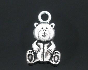 set of 5 charms minimalist little teddy bear Silver (B55)