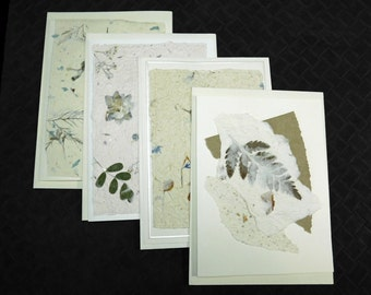 Handmade Paper / Note Cards / Natural Paper / Decorative Paper / DIY Invitations / Floral Paper /