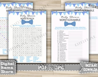 Bow Tie Word Scramble and Word Search in Blue - Word Scramble and Word Search Game Little Man - Instant Download - bt1