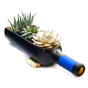 Cobalt Blue sliced Wine Bottle Planter! Beautiful unique planter, Cand dish,Weddings