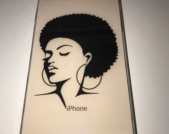 Black Girl with Natural Hair Afro iPhone Protective Case